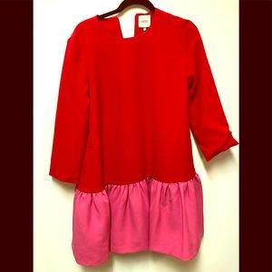 Tuckernuck red and pink colorblock peplum dress